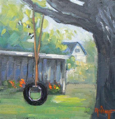 tire swing painting carol schiff daily painting studio childhood memories