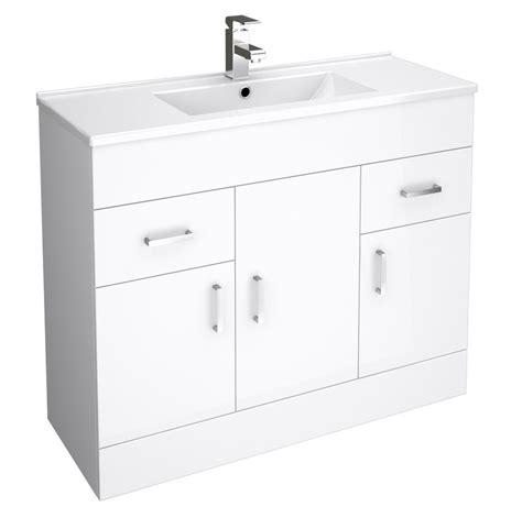 white bathroom cloakroom vanity storage unit cabinet