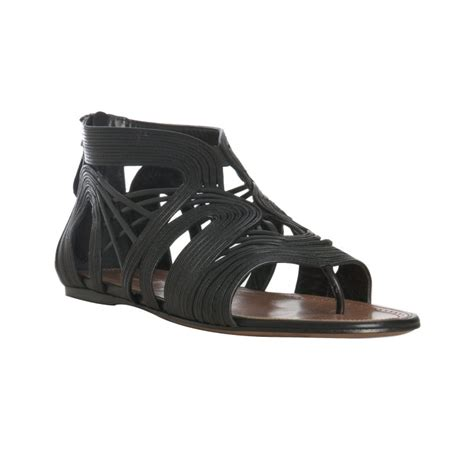 black strappy sandals flat ala 239 a black strappy leather flat sandals in black lyst