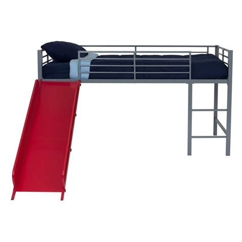 metal loft bed with slide metal twin loft slide bed in silver and red 5513298