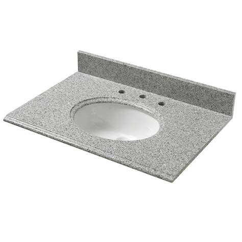 Pegasus Bathroom Vanity Tops Pegasus 37 In W Granite Vanity Top In Napoli With White Basin 37603 The Home Depot