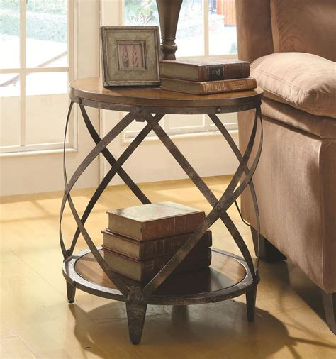 rustic metal and wood end tables small accent table discount furniture warehouse chicago