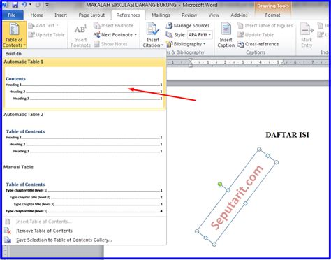 membuat daftar isi otomatis pada microsoft word cara cepat membuat daftar isi makalah otomatis di