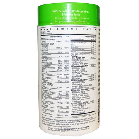 rainbow light complete nutritional system 180 tablets rainbow light complete nutritional system food based