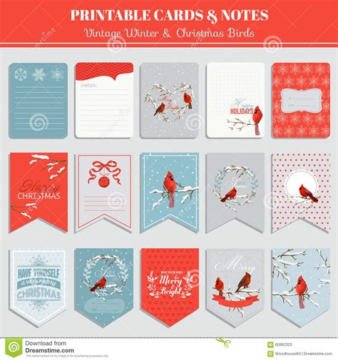 Printable Cards, Tags And Labels   Christmas Theme Stock