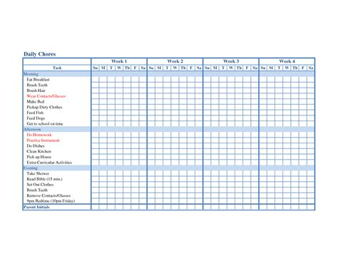 Chore Sheet Template by Family Responsibility On Chore Charts Age