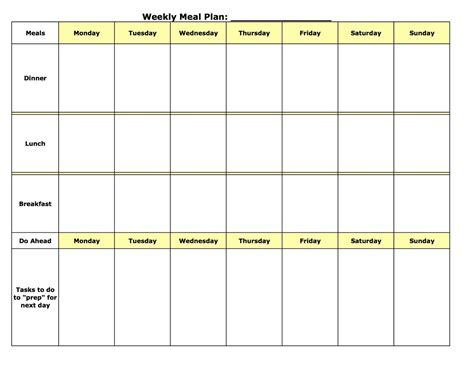 Weekly Meal Planner Template Madinbelgrade Meal Plan Template Printable