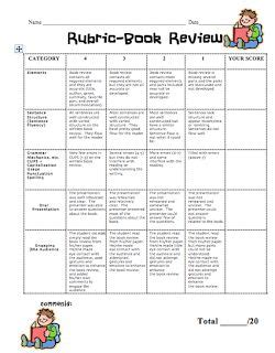 picture book rubric free rubric for a book review grades 3 5ish great way to