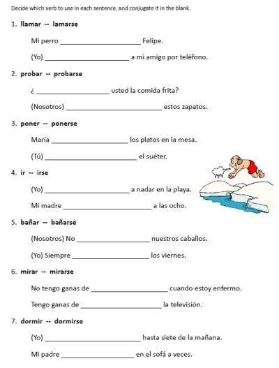 Verbs Like Gustar Worksheet by Free Reflexive Verbs Gustar Worksheets Printable