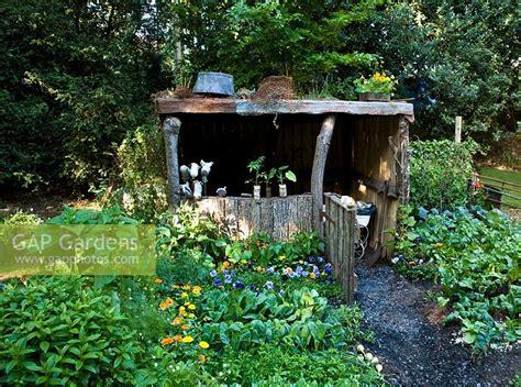 wooden vegetable garden gap gardens rustic wooden shelter in vegetable garden