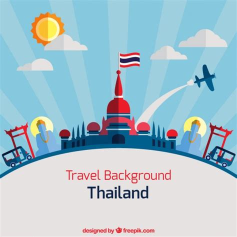 thailand home design thailand background in flat design vector premium