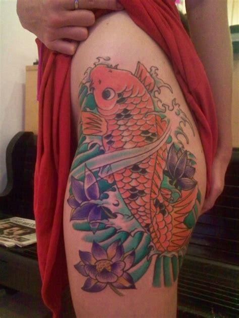 koi tattoo hip japanese koi tattoo with lotus on hip