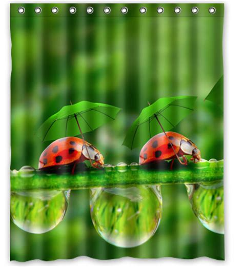 Ladybugs In Bathroom ladybugs insects umbrella drops printed polyester shower curtain 60 x 72 inch american style
