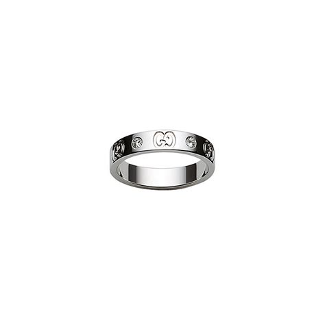 gucci 18ct white gold slim gg ring size q r