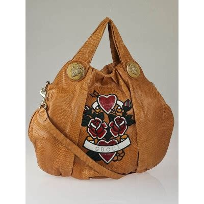 Gucci Hysteria Large Top Handle Bag by Gucci Beige Python Hearts Unicef Hysteria Large Top