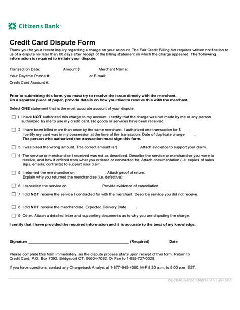 Credit Charge Dispute Letter Credit Card Dispute Form Citizens Bank Free