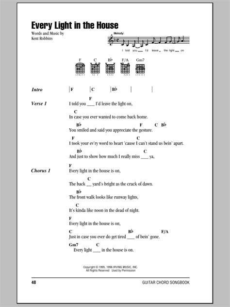 every light in the house is on lyrics every light in the house by trace adkins guitar chords lyrics guitar instructor
