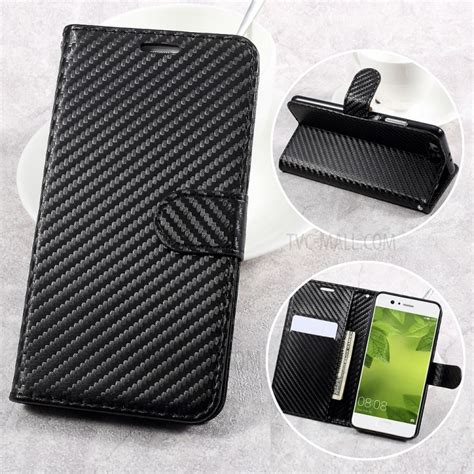 Autofocus Leather For Huawei 2 I Carbon carbon fiber texture leather wallet for huawei p10