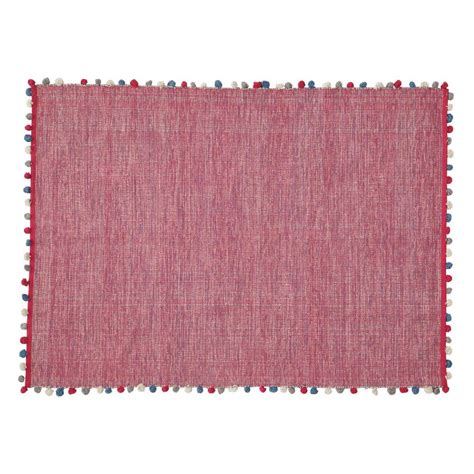 Fuchsia Rug by Pompon Cotton Rug In Fuchsia Pink 120 X 180cm Maisons Du