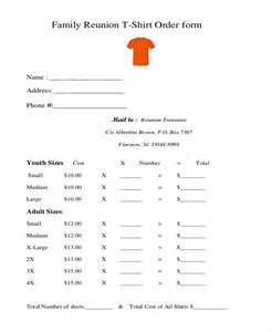 family reunion t shirt order form template sle t shirt order form 10 free documents in doc pdf