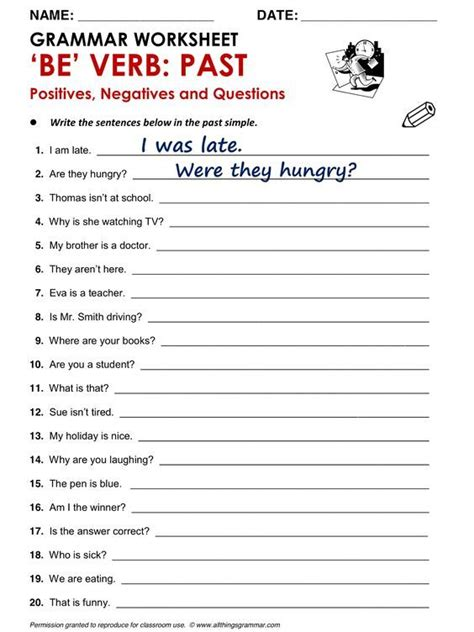 printable english worksheets verb to be be verb past english pinterest worksheets and
