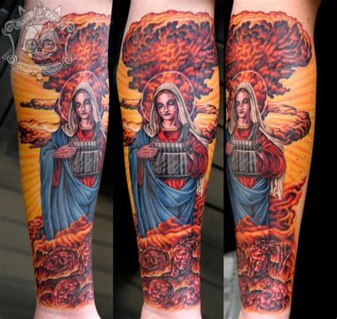 nuclear tattoo arm religious nuclear by tim kerr