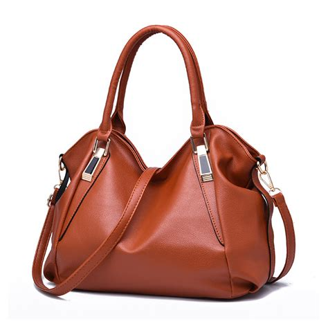 Visval Messenger Bags Brown new brown big casual tote bag fashion messenger bags ruched solid pu leather