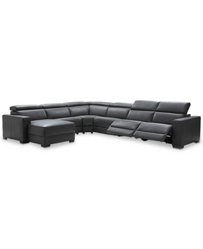 6 pc sectional sofa nevio 6 pc leather sectional sofa with chaise 2 power