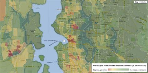 seattle income map map median income for every neighborhood in seattle