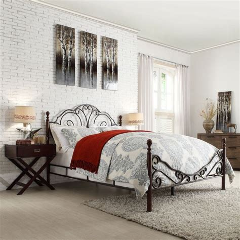 Leann Graceful Scroll Bronze Iron Bed By Tribecca Home By Iron Scroll Bed Frame