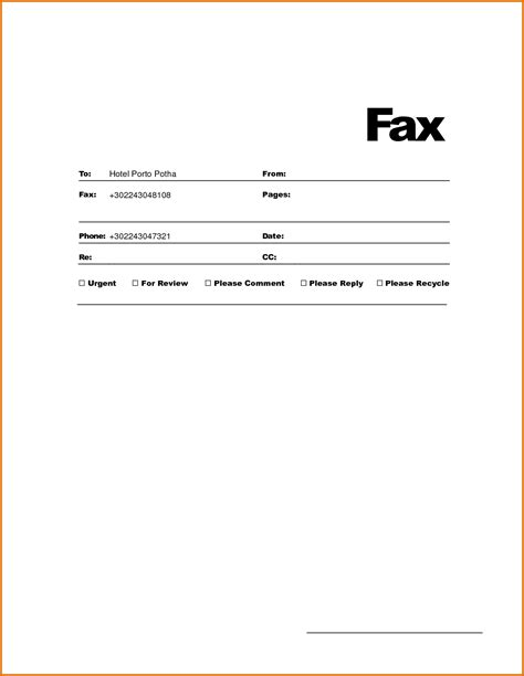 template for fax cover sheet fax cover sheet template for wordreference letters words