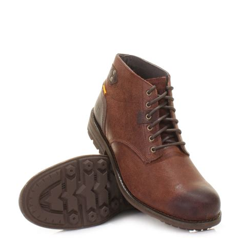 mens caterpillar newcastle brownn leather ankle boots