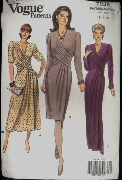 vintage pattern overlay 1990s size 12 bust 34 draped overlay dress by