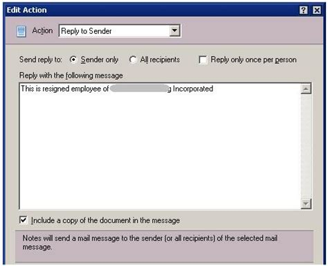 auto reply email template lotus notes auto reply for resigned employee technical