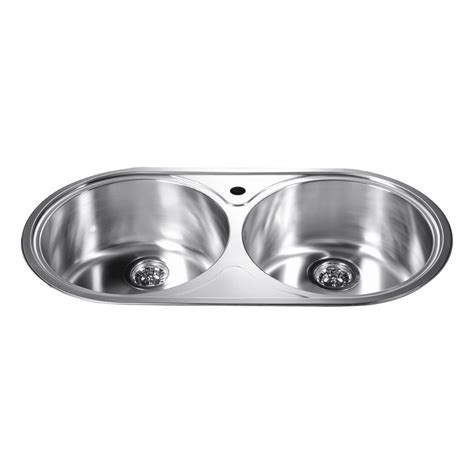 round sink bowl dawn top mount round equal double bowl sink with 1 hole ebay