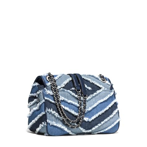 Mk Sloan Multi Denim michael kors sloan large denim chevron shoulder bag in blue lyst
