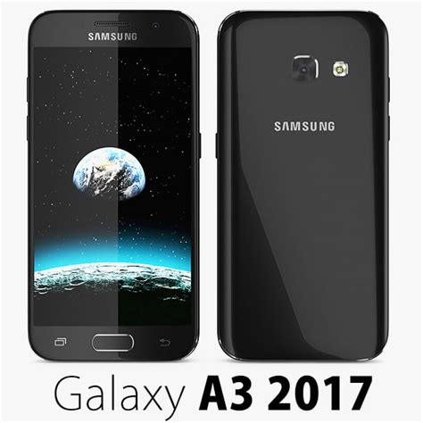 Sparkling Black Samsung A3 2017 3d edge 5 model