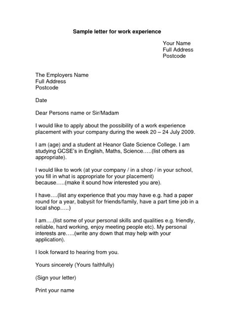 cover letter for work experience placement printable