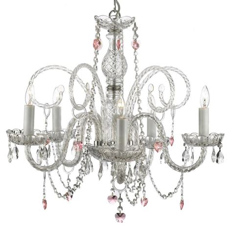 Pink Heart Chandelier 5 Light Venetian Style Empress Crystal Chandelier With