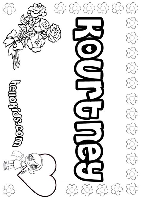 coloring name pages to print kourtney coloring pages hellokids com