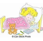 Clipart Vector Of Girl Sleeping  Little In