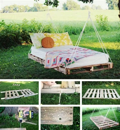 pallet bed swing swinging pallet bed house and garden pinterest
