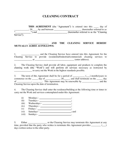 contract for cleaning services template service sle service agreement cleaning