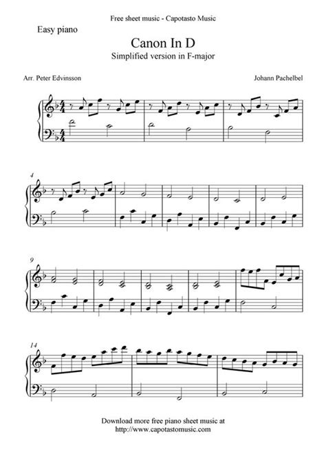 printable piano sheet music canon in d canon in d free easy piano sheet music music lesson