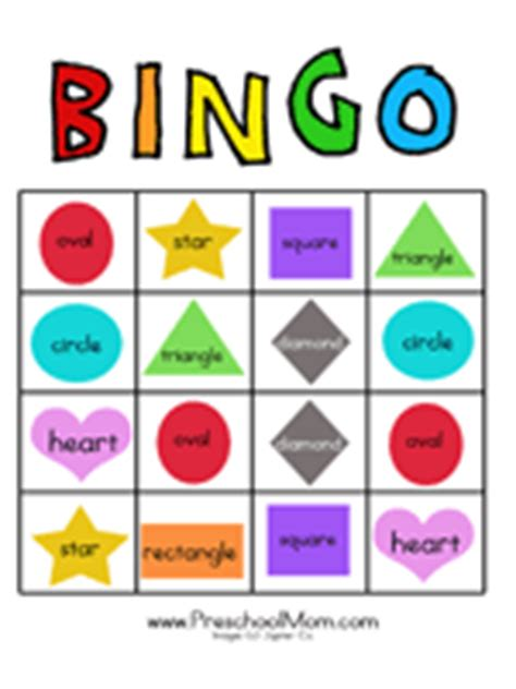 printable bingo cards with shapes free preschool bingo games