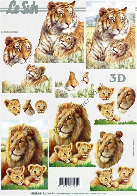 Decoupage Animals - tiger animals 3d decoupage craft sheet