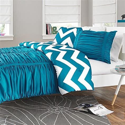 reagan reversible comforter set in peacock blue bed bath