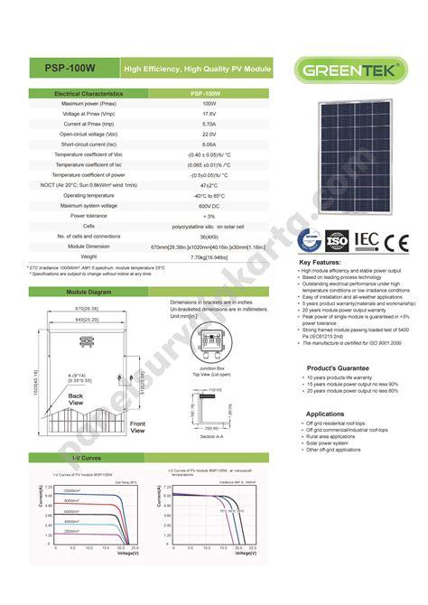 Solar Panel Cell Surya Module Gh 100 Wp 100wp 12v 12 V Poly Murah panel surya 100 wp greentek polycrystalline