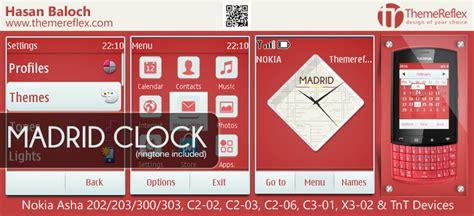 realmadrid themes for nokia c2 madrid clock theme for nokia asha 202 203 300 303 c2