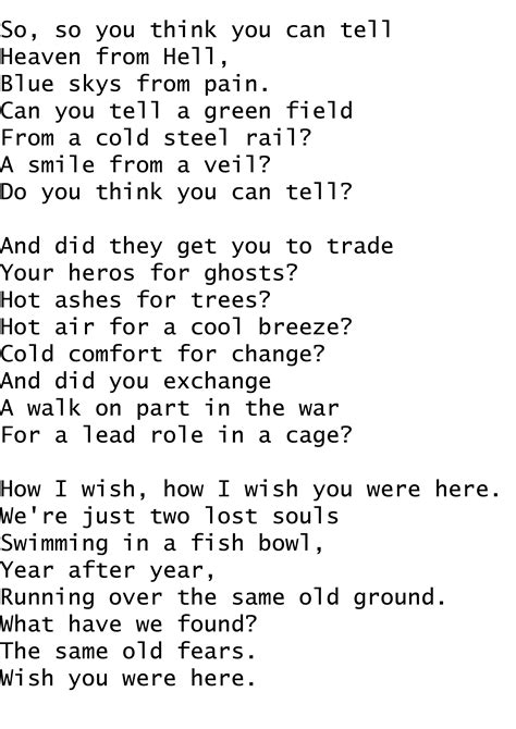 testo canzone wish you were here all sizes wish you were here pink floyd lyrics